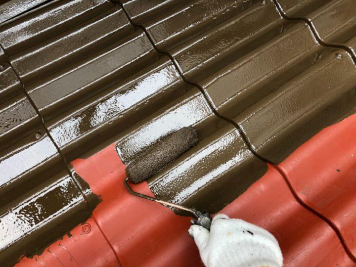 屋根中塗り工程