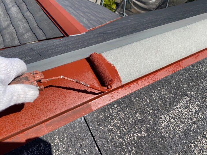 屋根 板金部下塗り作業